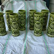 Set of 8 Green Luau Hut Maryland Vintage Tiki Mugs