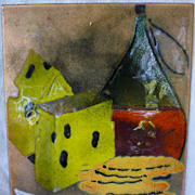 SALE Wine and Cheese Enamel on Copper Plaque
