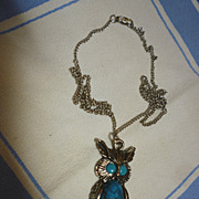 SALE Sixties Owl Pendant on Chain Blue Eyes and Tummy