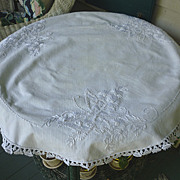 SALE Floral and Butterflies Embroidered Linen Society Round Centerpiece