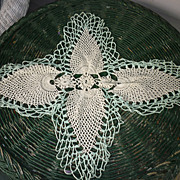 SALE Jade Green Edging White Pineapple Crochet Centerpiece