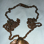 SALE Bell Trading Post Copper Leaf Pendant Necklace