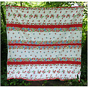 SOLD Red Strawberries and Red Blue Flowers Vintage 1950's Kitchen Towel Fabric