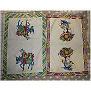Mexican Senor and Senorita Big Baskets of Fruit Vintage Kitchen Towels