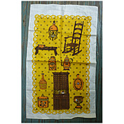SALE Old Fashioned Kitchen with Rocking Chair Vintage Dish Towel