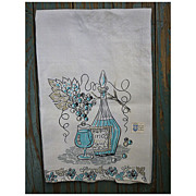 SALE Vino Wine Decanter and Grapes Vintage Linen Dish Towel