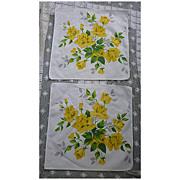 SOLD Pair Yellow Royal Rose Wilendur Print Napkins Vintage 1950s