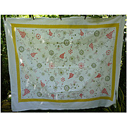 SALE Startex Starmont Vintage Tablecloth Flowers Butterflies Print Yellow Border
