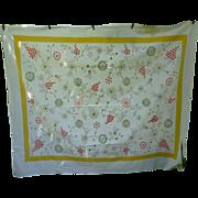 SALE Startex Starmont Vintage Tablecloth Flowers Butterflies Print Yellow Border