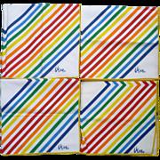 SOLD Set of 4 Vera Neumann Spectrum Stripes Print Napkins