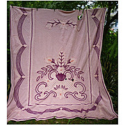 Very Plush Burgundy Pink Vintage Chenille Bedspread for Crafting