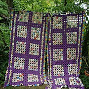 SALE Exquisite 1930's Purple and Prints Fabrics Yo Yo Quilt