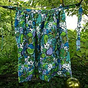 SALE Bold Fruits Flowers and Doves Vintage1960's Maxi Length Apron