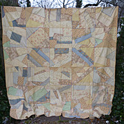 SALE Soft Pastel Embroidered Antique Silk Crazy Quilt