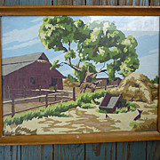 SOLD Horse by Barn Landscape Vintage Paint-by-Numbers Framed Painting