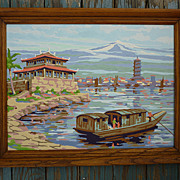 SALE Oriental Landscape Vintage Paint-by-Numbers Framed Painting
