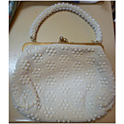 SALE Le Jule Label Vintage 50s White Beaded Purse Handbag