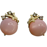 Vintage Signed Coro Pink Moonglow and Rhinestones Clip Earrings