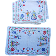 SOLD Set of 8 German Folkloric and Flower Motif Print Linen Placemats Napkins Vintage 1950s