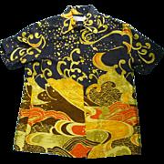 SOLD Waltah Clarke's Hawaiian Shop Japanese Wave Print Hawaiian Shirt