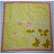 Vintage Vera Butterflies and Flowers Scarf Yellow Pink Gold