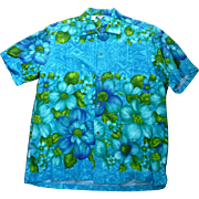 SOLD Hawaiian Togs Barkcloth Hawaiian Aloha Surfer Shirt  L