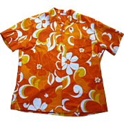 Sunny Orange Yellow White Barkcloth Hawaiian Aloha Surfer Shirt