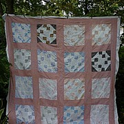 SALE Prairie Queen Nine Patch Patchwork Quilt Top