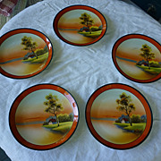 SALE Five Noritake Hand Painted Tree in the Meadow Plates