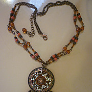 SALE Avon NR Coppertone Beaded Medallion Necklace with Dangles