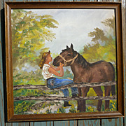 SALE Folk Art Lady With Horse Oil on Canvas Board Signed