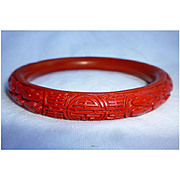SALE Chinese Red Bakelite Cinnabar Style Bangle Bracelet