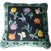 SALE Garden Flowers Wool Needlepoint Pillow