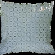 SOLD Diamond Lattice with Flower and Open Work Pattern Hand Crochet Bedspread