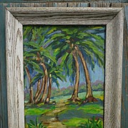SALE Tropical Landscape Palm Trees Painting Signed 1957
