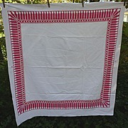 SALE Red and White Tassel  Print Border Vintage 40's 50's Tablecloth
