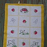 SOLD Startex  Farm Apple Tree Vintage 1950's Print Kitchen Towel