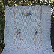 SALE Peach Blue Yellow Flowers Deco Rays Vintage Chenille Bedspread