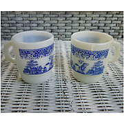 SALE Set of 2 Fire King Blue Willow Milk Glass Mugs