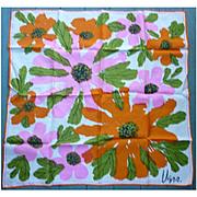 Vintage Vera Big Pink and Orange Flowers Print Scarf