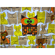 Mod Pop Owls and Pussy Cats Vintage 70's Fabric 2 1/3+ Yards