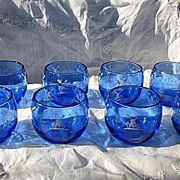 SALE Cobalt Blue and White Windmill Roly Poly Glasses Hazel Atlas