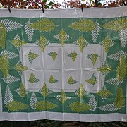 SALE Art Ferns Green Yellow White  Print Linen Tablecloth Mid-Century
