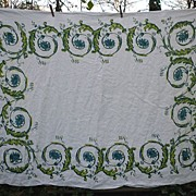 SALE Lovely Irish Linen William Ewart Scroll Print Vintage Tablecloth