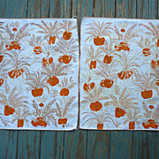 SOLD Pair of Vera Table Napkins Orange and Gold Ferns Print