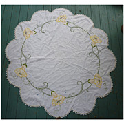 SALE Arts & Crafts Embroidered  Yellow Angel Trumpet Flowers White Round Centerpiece