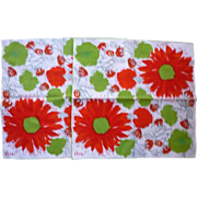 SOLD Set of 2 Vera Neumann Red and Green Flowers Print Napkins