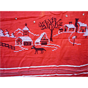 Christmas Village Scenes Cross Stitch Embroidered Tablecloth