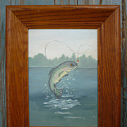 Fly Fishing Speckled Rainbow Trout Painting Deep Cove Frame