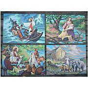 SALE Bible Scenes Vintage Paint-by-Numbers Paintings Set of 4